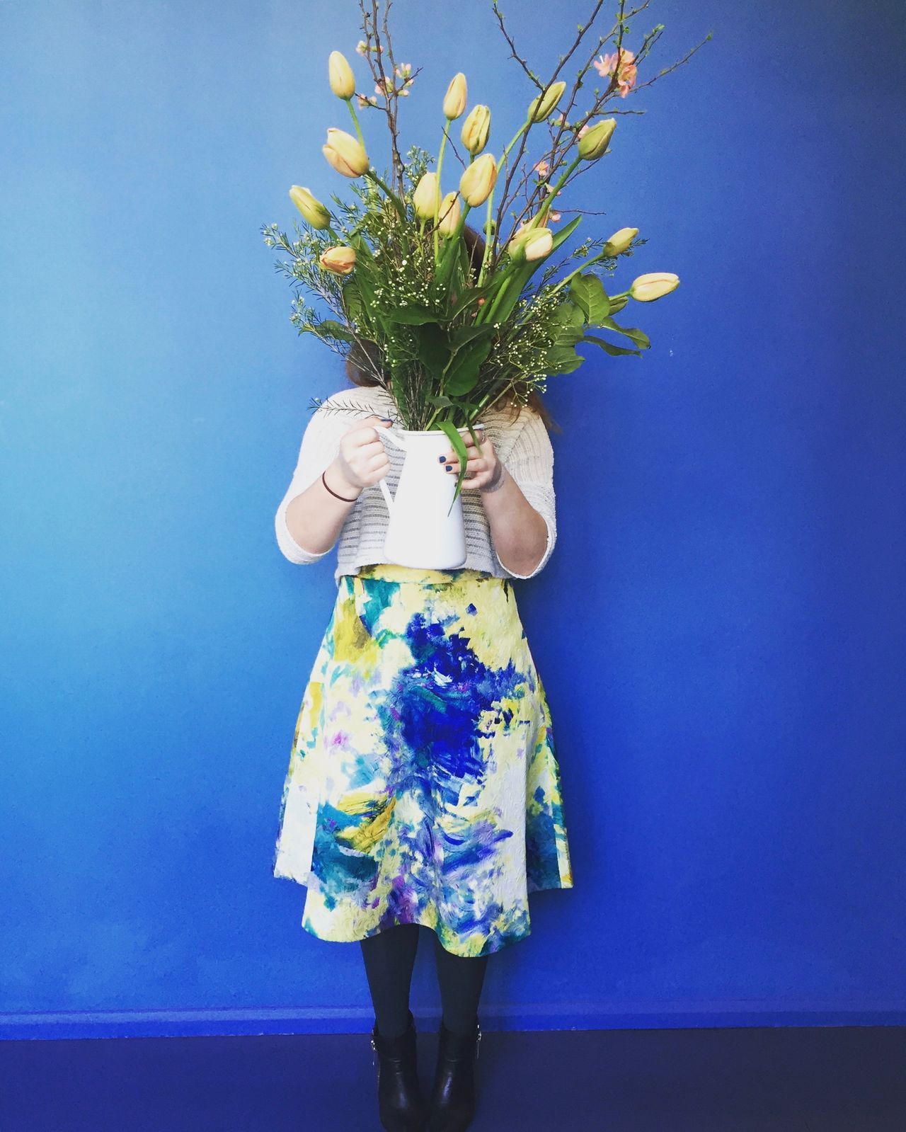 Blue Bouquet Bunch Of Flowers Celebration EyeEm Team Fashion Flower Flower Arrangement Flower Head Fragility Freshness Happiness Holding Leisure Activity One Person Outdoors Real People Skirt Sky Spring Standing Tulips Unrecognizable Person Wreath Yellow