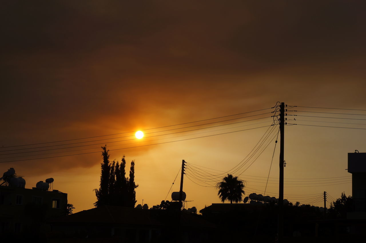 Cable City Cloud - Sky Connection Cyprus Electricity  No People Outdoors Paphos Power Line  Sand Storm Silhouette Silhouettes Sky Sun Sunset Tree
