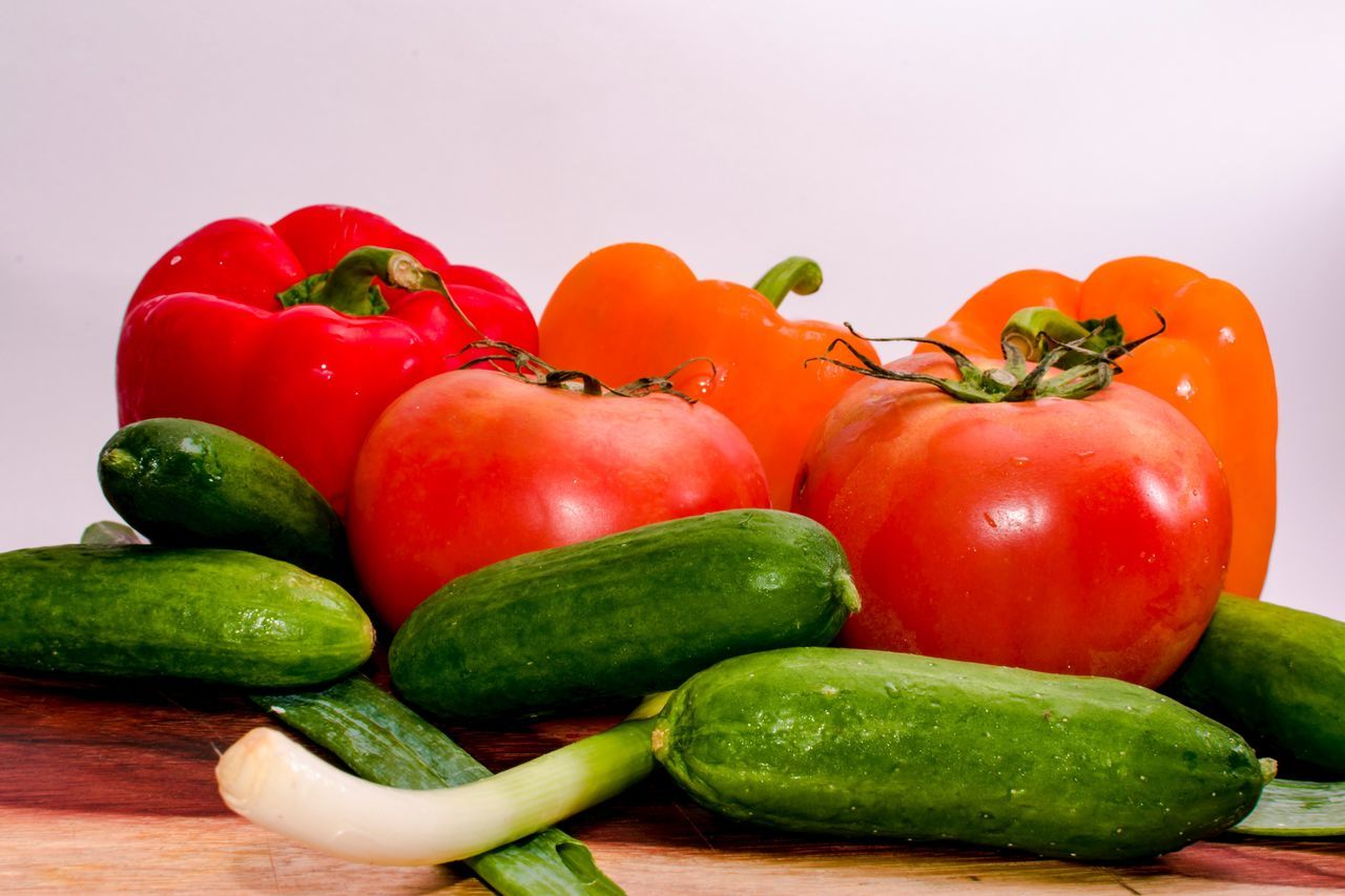 Vegetable Food Food And Drink Healthy Eating Green Color Freshness No People Red Variation Studio Shot Indoors  Red Bell Pepper Close-up White Background Day