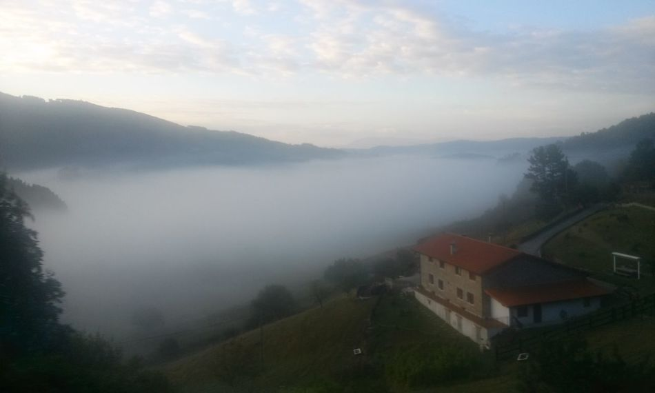 Beautiful Beauty In Nature Day Basque Country Pais Vasco Vizcaya SPAIN Clouds And Sky Cloud Low Clouds Mountain House Hut Nature No People Outdoors Farm Miles Away