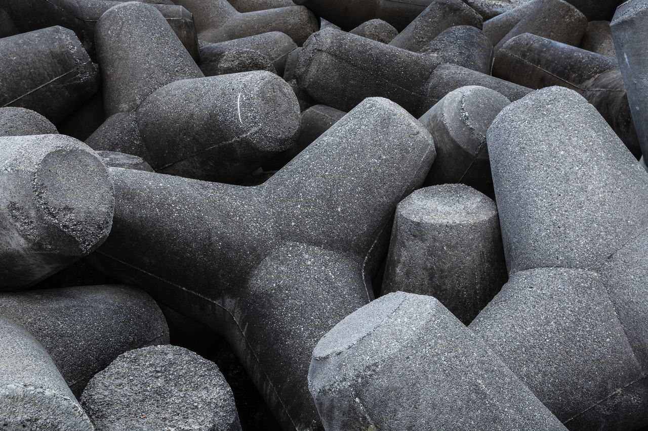 Abundance Backgrounds Beach Close-up Coast Concrete Day Full Frame Grey Groyne Large Group Of Objects Nature No People Outdoors Pattern Protection