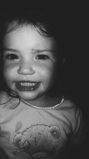 My little Princess and her Scar Blessher Portrait Headshot Black Background Monochrome Monochromatic Monochrome _ Collection Blackandwhite Black And White Photography Looking At Camera Innocence Indoors  Close-up Beauty Person