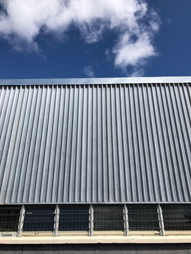 Architecture Low Angle View Built Structure Sky Cloud Building Exterior Day High Section Repetition Industry City Life Corrugated Iron Modern Blue Office Building Outdoors Cloud - Sky Façade Exterior Facade Building
