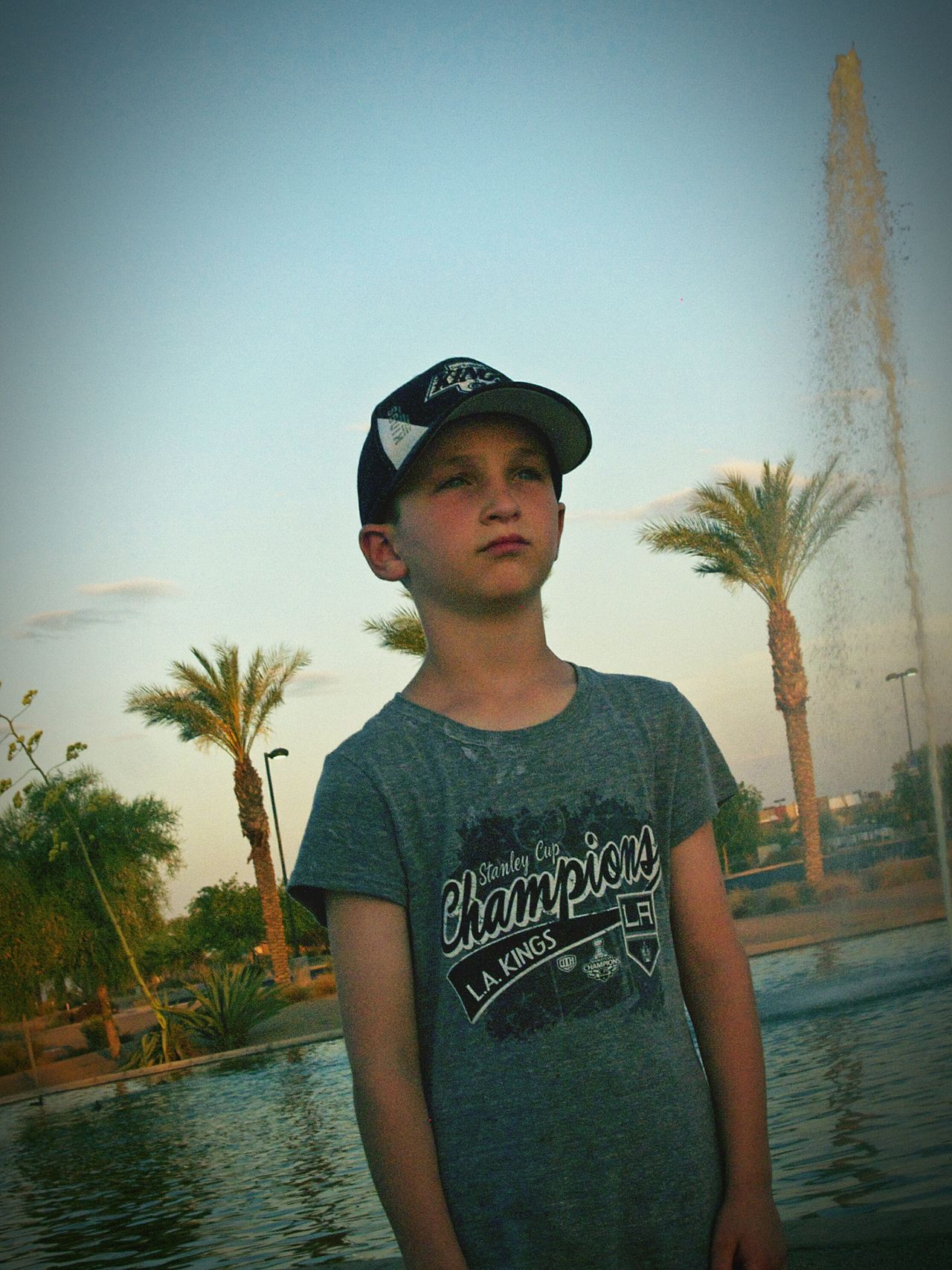 Young Boy Fountains Seriousface Standing Tall Dusky Sky My Son ❤ Glendale, Arizona