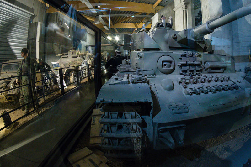 Overlord Museum, Colleville-sur-mer, Normandy, France, July 2017 D-Day II War World. Overlord Museum Exhibition Exhibits Exposure Machinery Museum Omaha Beach Overlord Panther Tank Weapon