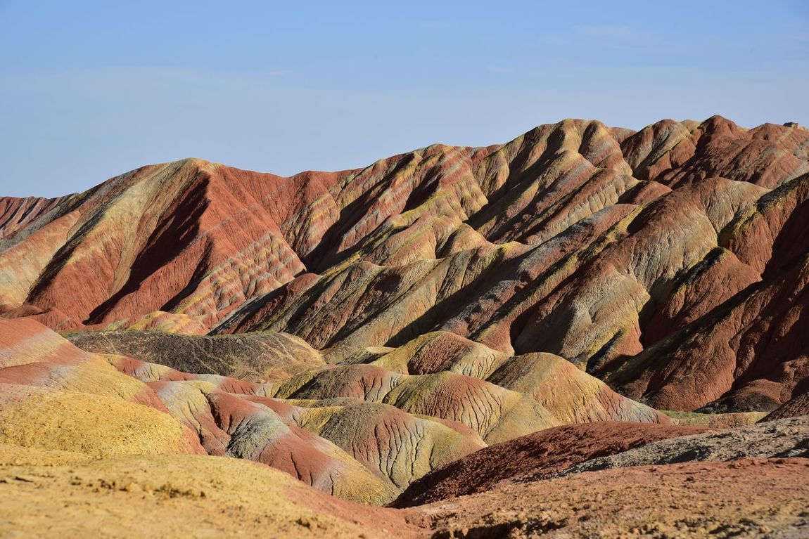 China Danxia Geology Landscape Nature No People Sand Dune Zhangye  Canyons National Park Colors Travel Destinations