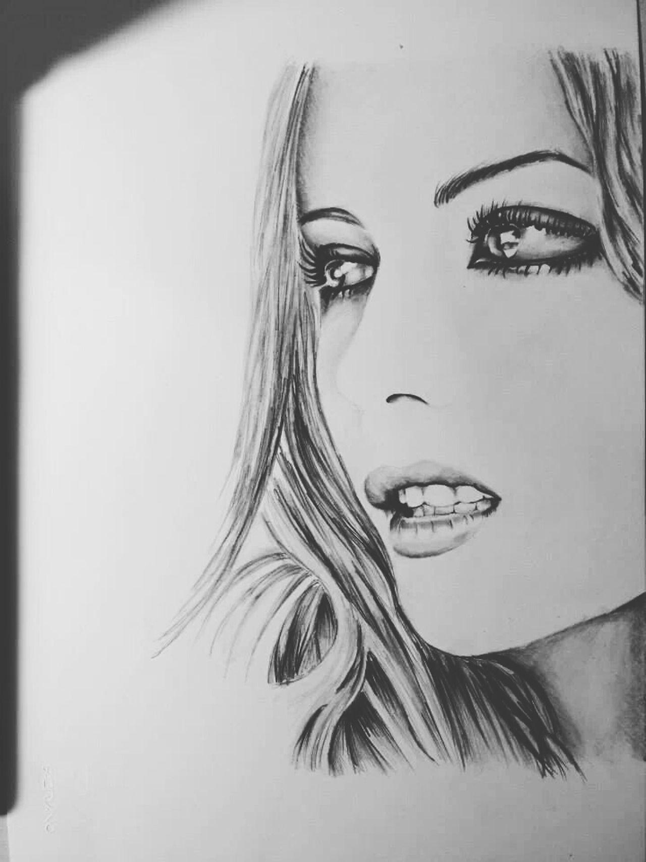 """Kate Beckinsale"" (summer 2013) minimal portrait, pencil on paper 24x33cm. Follow me on Facebook: ""Lotter Art-Draw"" (: Drawing Portrait Art Model"