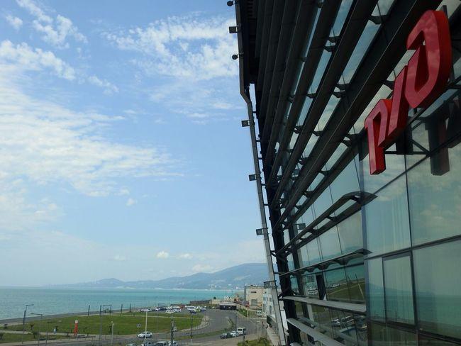 Rzd Railwaystation On Black Sea Mountains And Sky Deep Blue Beach Photography Go Home End Of Holidays Adler Russia