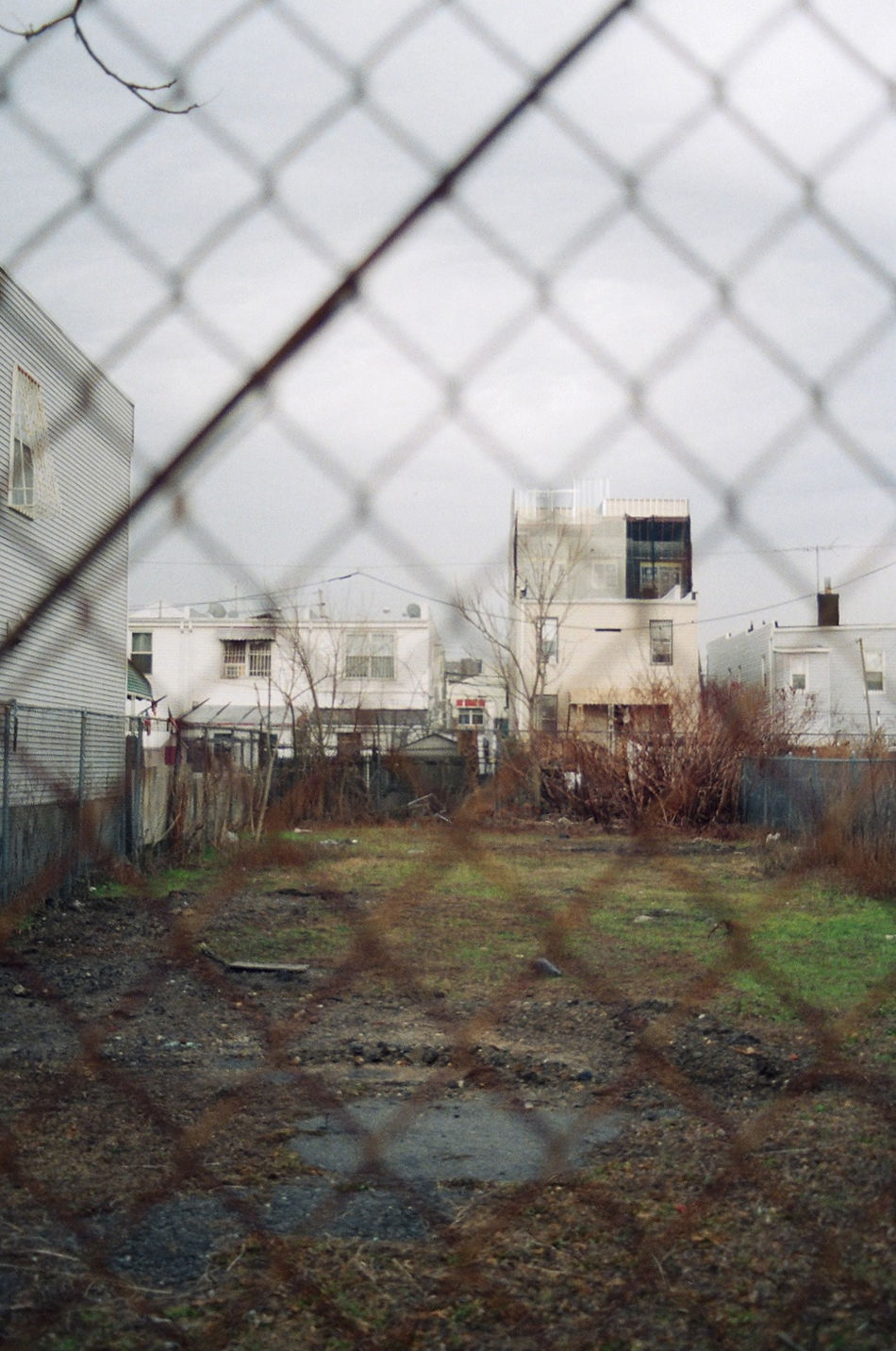 Architecture Backyard Brooklyn Built Structure City Empty Fence Film Photography Ghetto Grass New York City Ominous Overcast Threatening USA Weather
