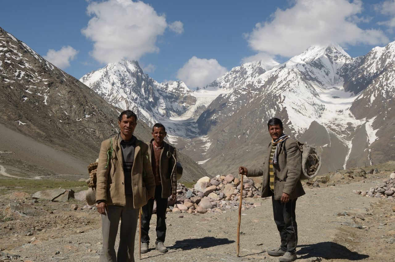 People of the mountains. People Mountains Snow Himalayas Trekkers Hikers Locals No Hiking Gear Traditional Hikers Simple Shadows Spiti Himachal