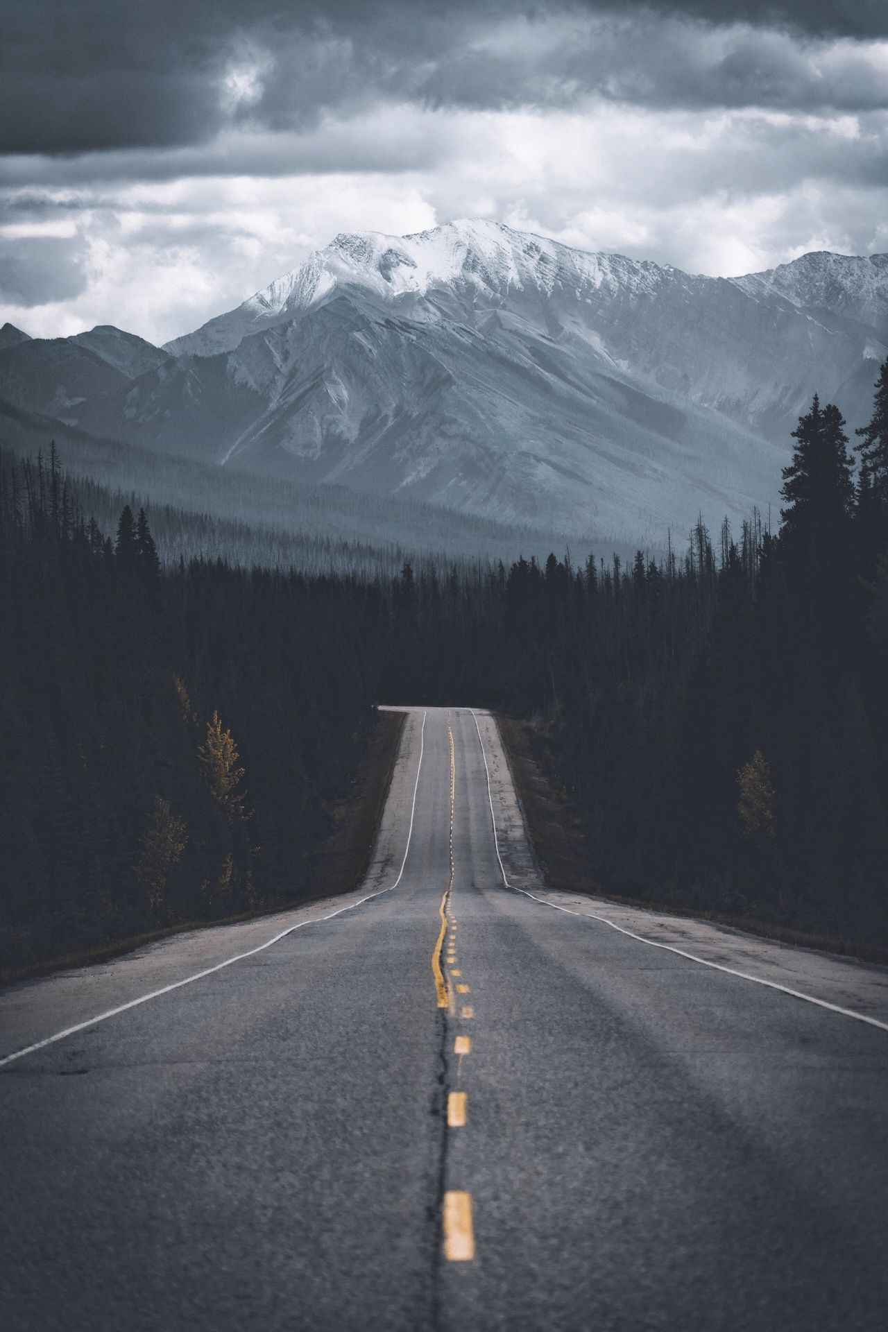 Highway to hell or heaven. Canada Mountain Snow Mountain Range Cold Temperature Winter The Way Forward Road Landscape Scenics Transportation Tranquil Scene Beauty In Nature Nature Non-urban Scene Outdoors No People Day