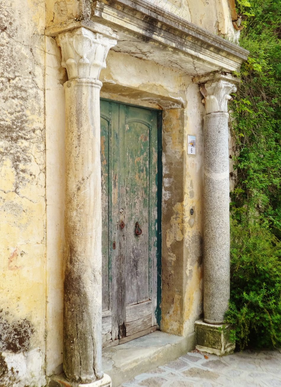 Come in do Ancient Dilapidated Entrance Foliage Green Doors No People Outdoors Pillars Stone Wall