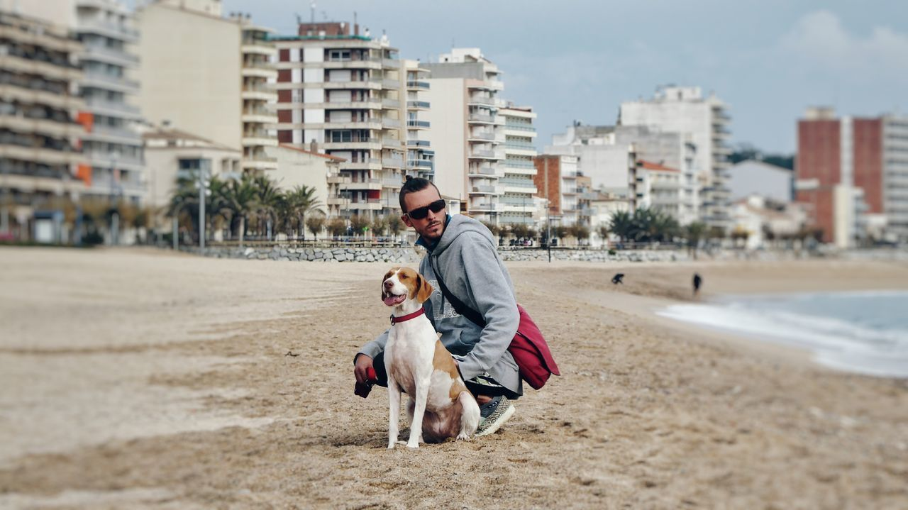 Beautiful stock photos of hunde, city, togetherness, males, happiness