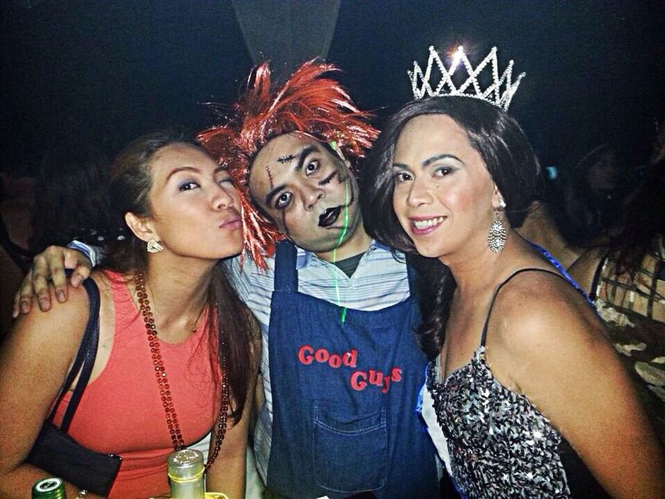 The Stage Mom. Chucky. And the winner of last night's Best in Costume award, our very own Miss Universe!!! Halloween2013 ImperialCorpseBrideParty