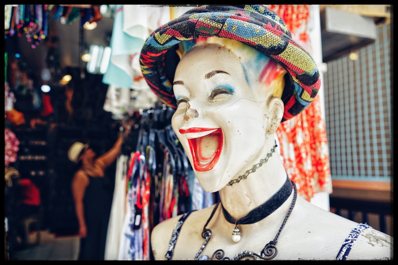 human representation, focus on foreground, real people, day, outdoors, close-up, clown, one person