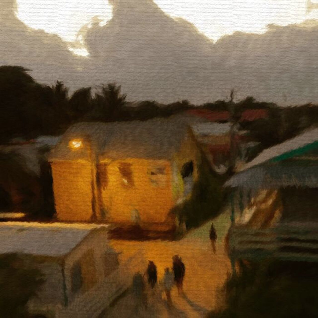 Twilight street from the rooftop , island style Light And Shadows Caye Caulker Just Hanging Out Night Life. Streetphoto OpenEdit impressionist
