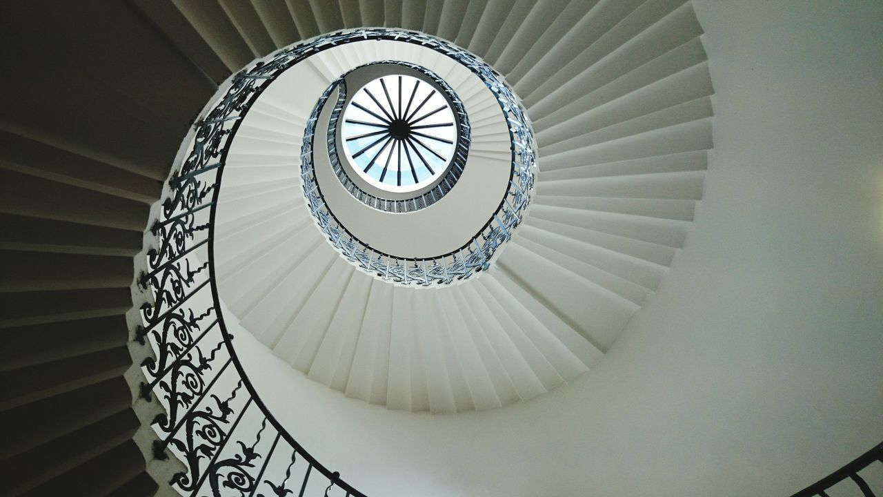 Fine Art Photography Tulip Stairs Spiral Staircase Perspective Skylight London Clockwise White And Black