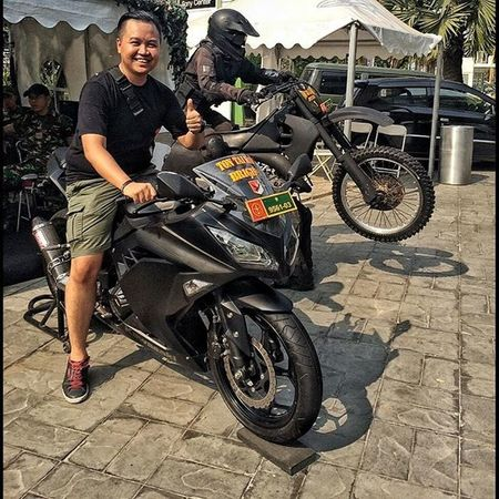 Bersama kawankawan yonif brigif 1. TNI Tniad Yonif Brigif Infanteri Army Indonesianarmy Kawasaki Kawasakininja Klx Ranpur Twowheels VSCO Vscocam Vscophile Vscogood