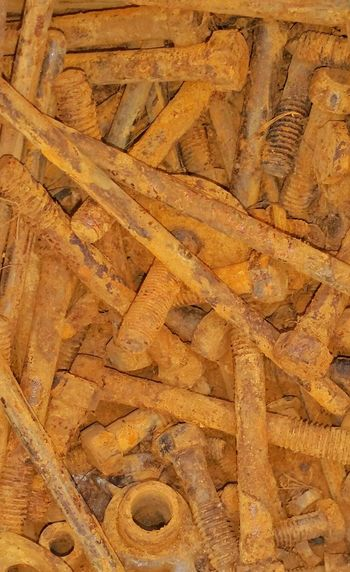 Rusty Screws Rusty Nuts And Bolts Old Build Supplies Hardware Old Metal Orange Color Brown Color Multiple Metal Objects Rusty Things Different Types Automotive Hardware