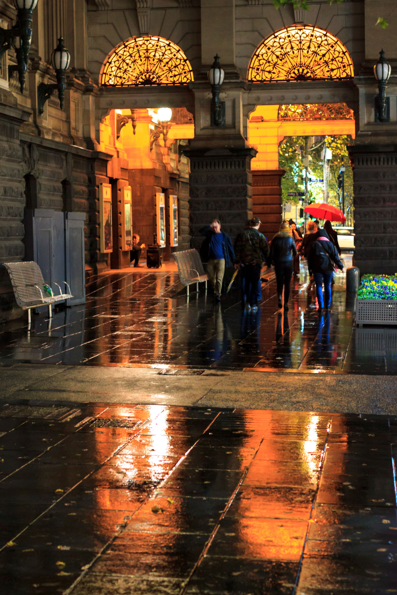 Town Hall on a cold, rainy night Architecture Building Exterior Built Structure City Full Length Illuminated Large Group Of People Lifestyles Men Night Outdoors People Rain Rainy Season Real People Reflection Under Water Weather Wet Women