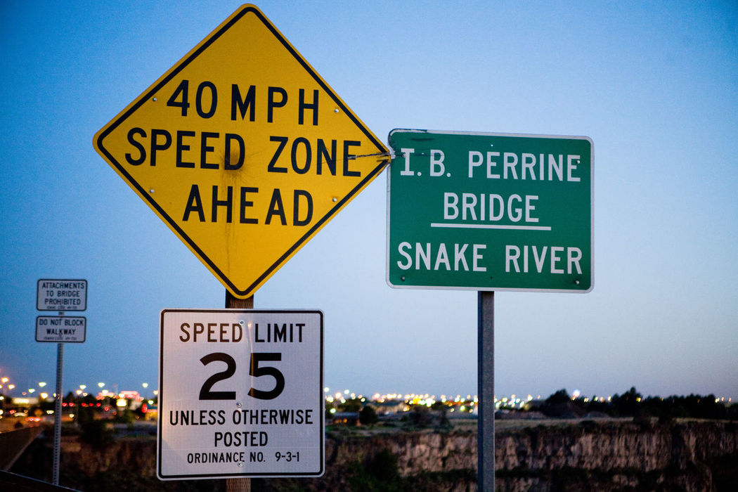 Blue I.B. Perrine Bridge IB Perrine Bridge Idaho Information Sign No People Outdoors Road Sign Sign Snake River Snake River Valley Twin Falls