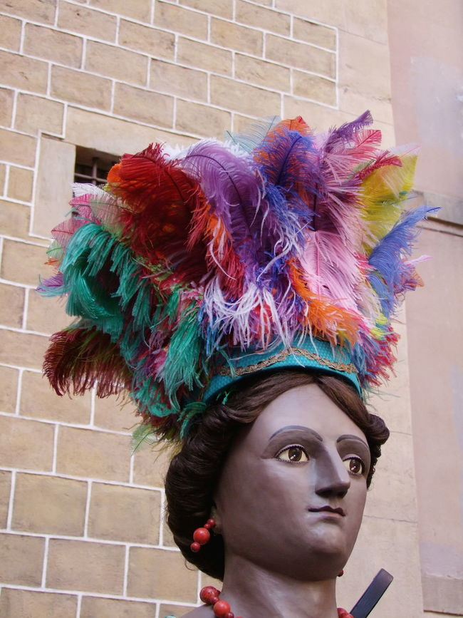 Festival Costume, Praca del Pi Arts Culture And Entertainment Barcelona Close Up Close-up Composition Costume Face Feathers Festival Full Frame Fun HEAD Headdress Headshot Multi Colored No People One Woman Only Outdoor Photography Portrait Religious Festival South American Spaın Tourist Attraction  Unusual Woman