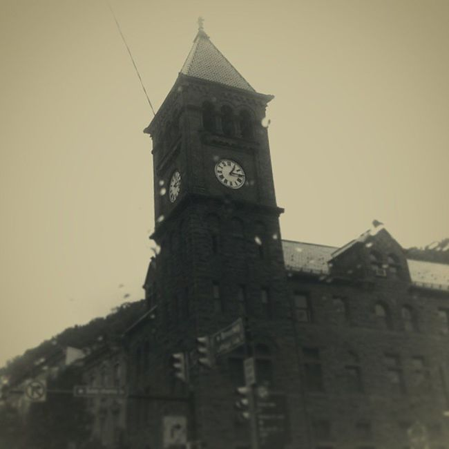 Court House Clock Tower Clocktower Gothicrevival Victorian Sepia monochrome contrast shiftfocus mauchchunk courthouse littlephoto vignette countyseat trb_members1 poconos bearmountain asapacker carboncounty pennsylvania