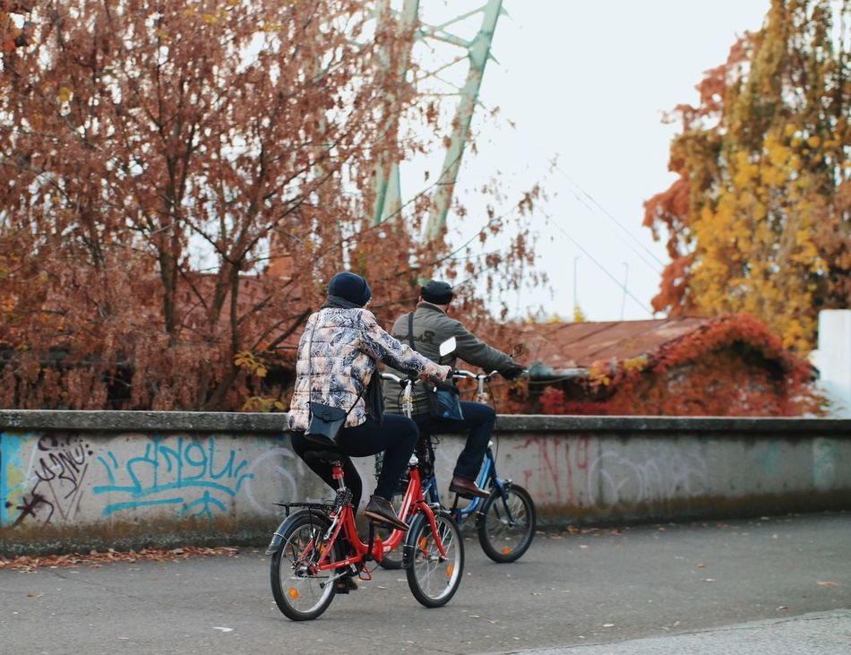 Tandem... Bicycle Cycling Riding Rear View Mode Of Transport Details Of My Life Found On The Roll My Favorite Photo Made In Romania Vscocam Leisure Activity City Life Autumn Casual Clothing Transportation Land Vehicle Bicycle Basket Autumn Colors Outdoors Fall Colors Two People Cycling Around Cyclists Citylife Enjoy The New Normal