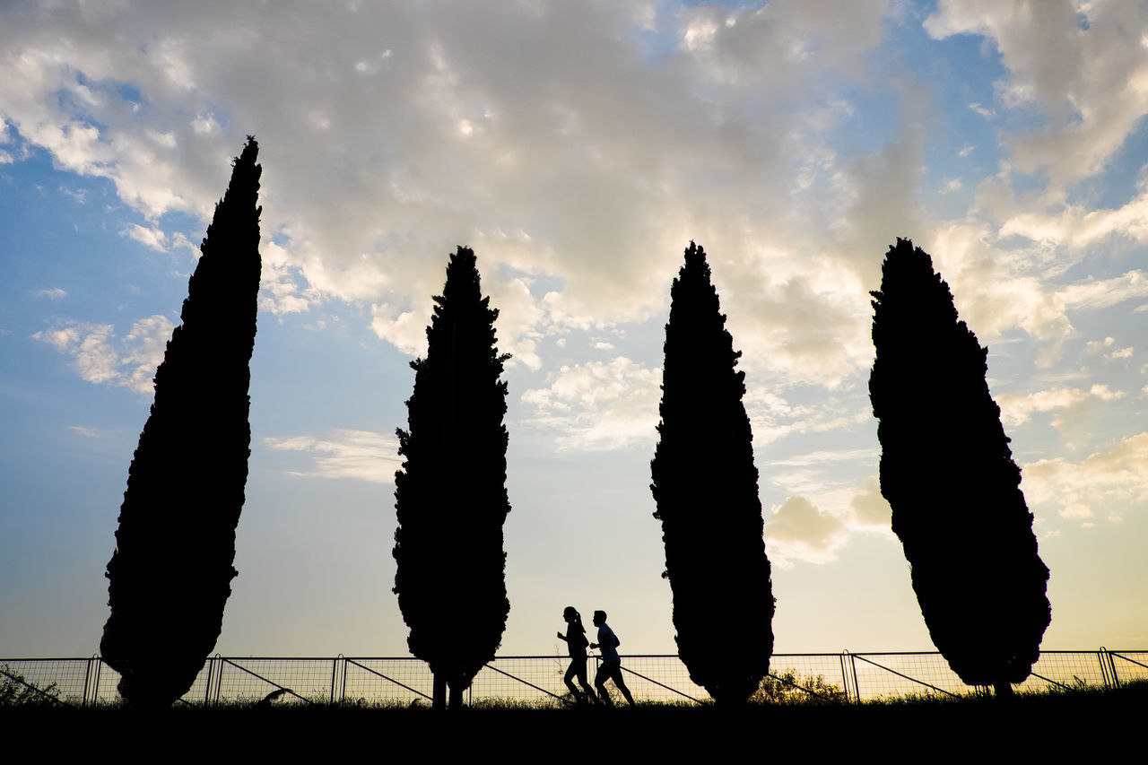 Low Angle View Of Silhouette Couple Jogging By Trees Against Cloudy Sky During Sunset