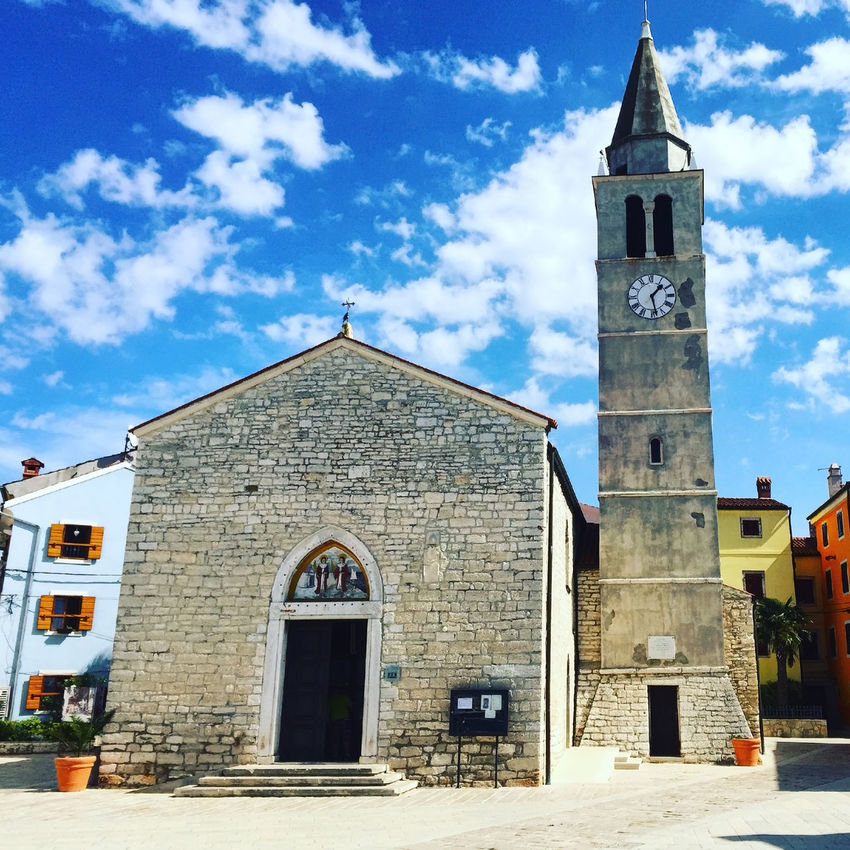 Church of saint Cosmas and Damian in on square in Fazana, Croatia Architecture Blue Sky Building Exterior Built Structure Church City Clock Tower Croatia Europe Exterior Fazana Historic History Istria Mediterranean  Nobody Outdoors Religion Saint Scenics Square Tower Town