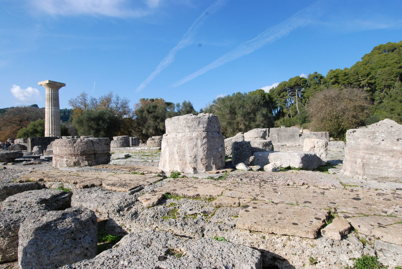 The Home of the First Olympics Ancient Ancient Civilization Ancient History Architecture Blue Blue Sky Chemtrails Cloud Clouds And Sky Column Day Europe Games Greece History Monument No People Olympia Olympic Outdoors Ruins Sky Stone Travel Travel Destinations