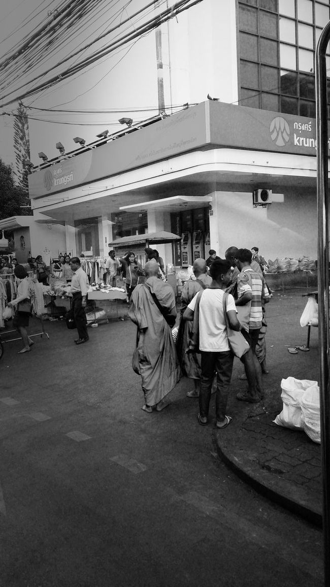 Thaiculture Market Doinggood Buddhist Monks Life Smiling Thailand Bangkok City Pepole Moringmarket