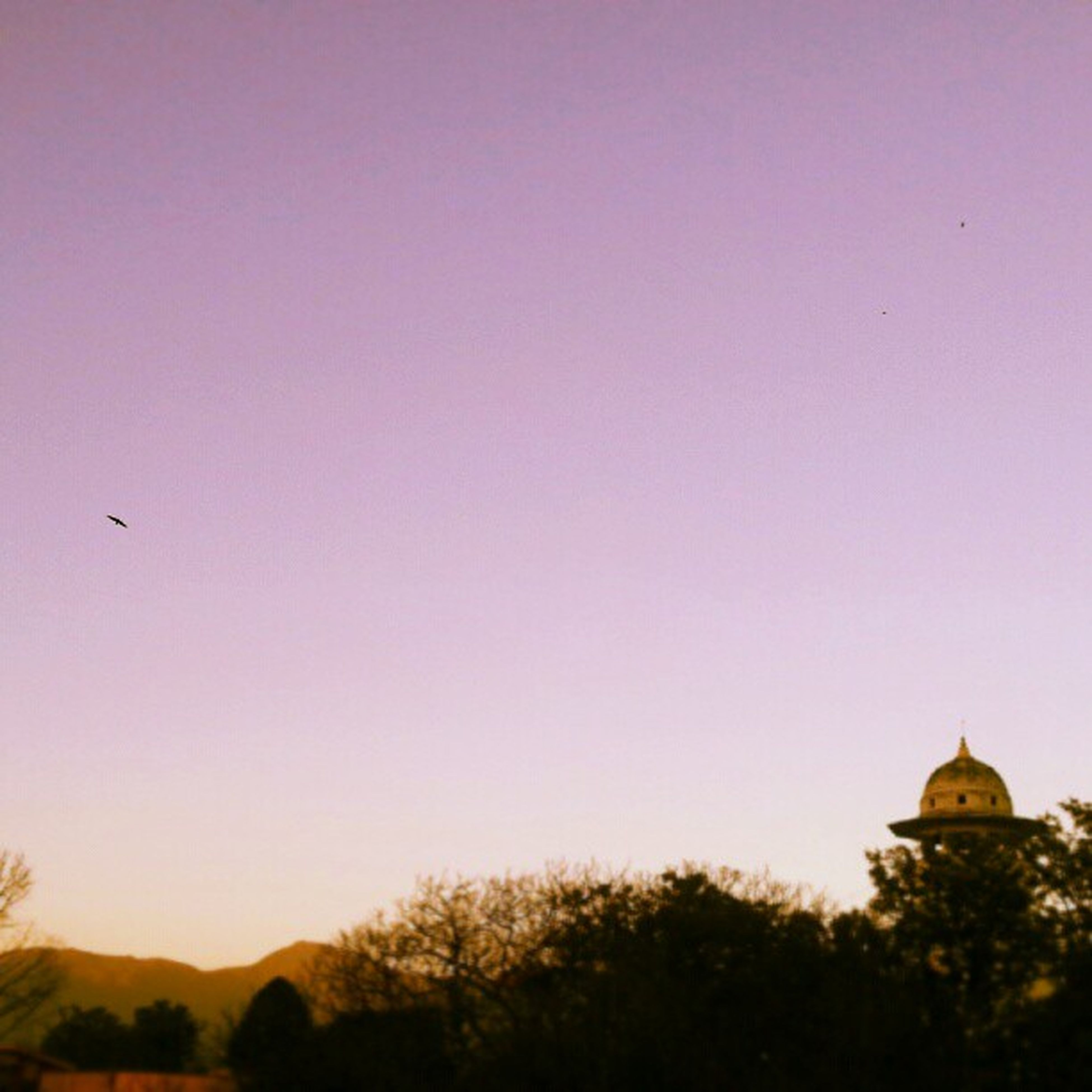 clear sky, copy space, architecture, built structure, building exterior, religion, sunset, place of worship, low angle view, silhouette, spirituality, nature, dusk, tree, sky, dome, scenics, outdoors, church