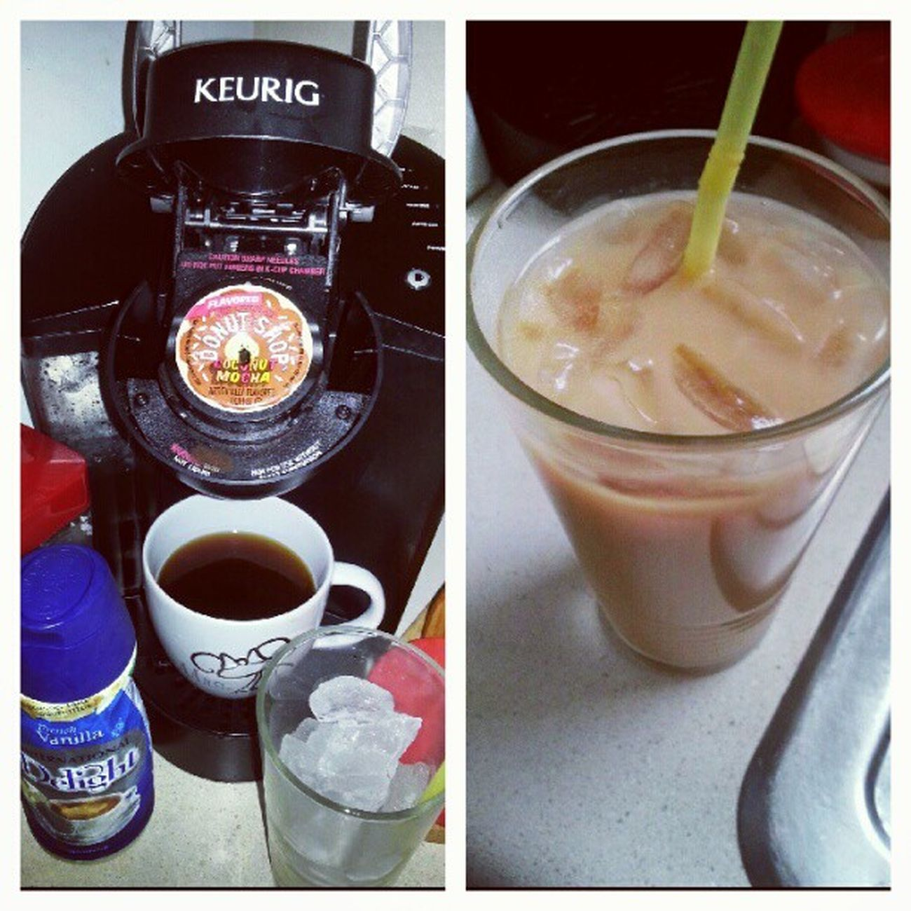 Iced coffee. Frenchvanilla Lovemykeurig Kcup