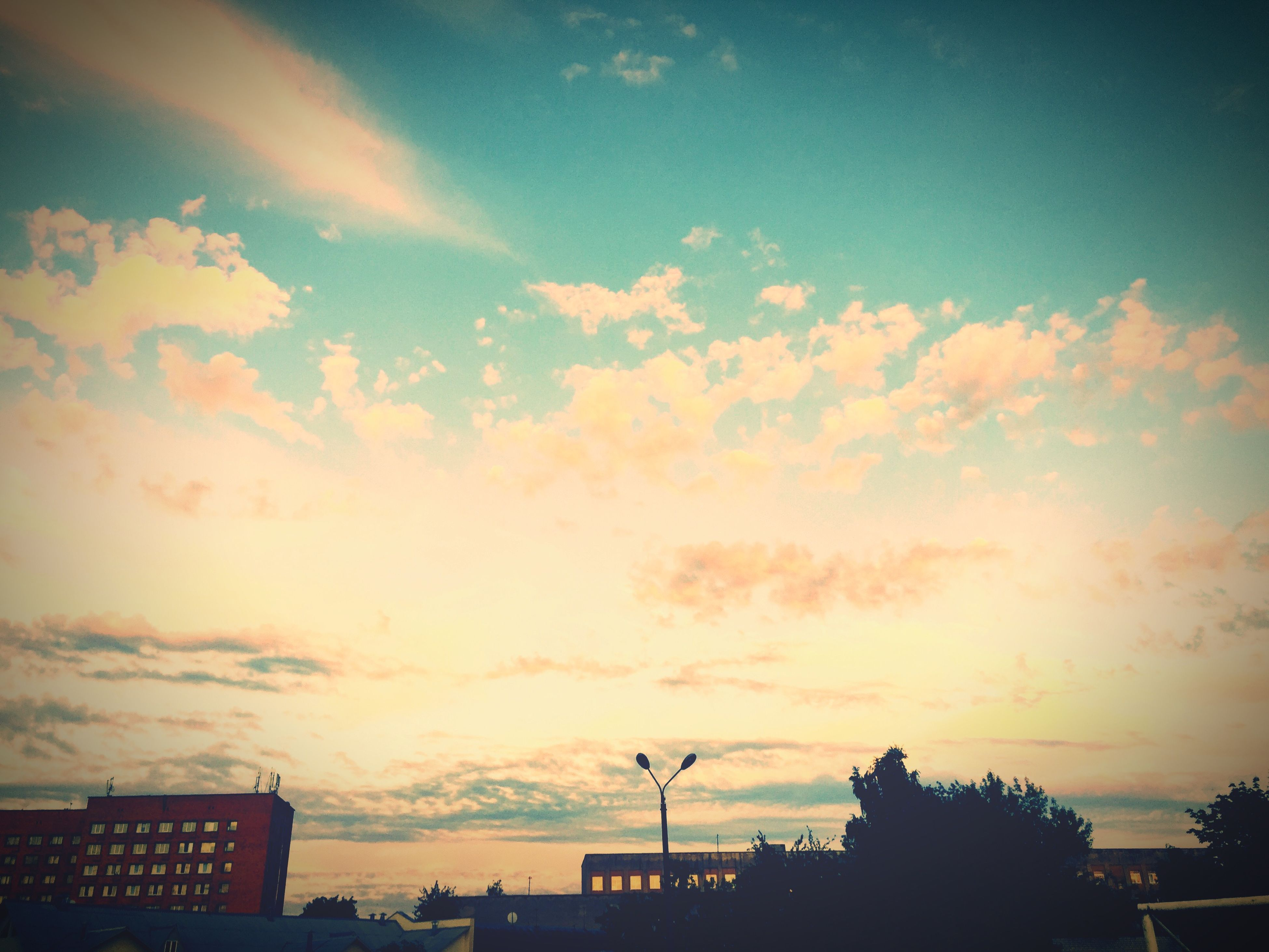 sunset, sky, architecture, silhouette, built structure, building exterior, cloud - sky, low angle view, cloud, beauty in nature, nature, cloudy, scenics, dusk, building, city, outdoors, house, orange color, no people