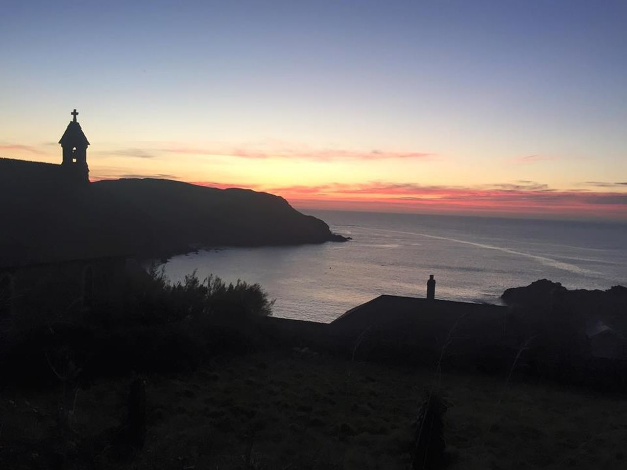 Beautiful Church Hope Cove Sea Sea And Sky Sunset Tranquility