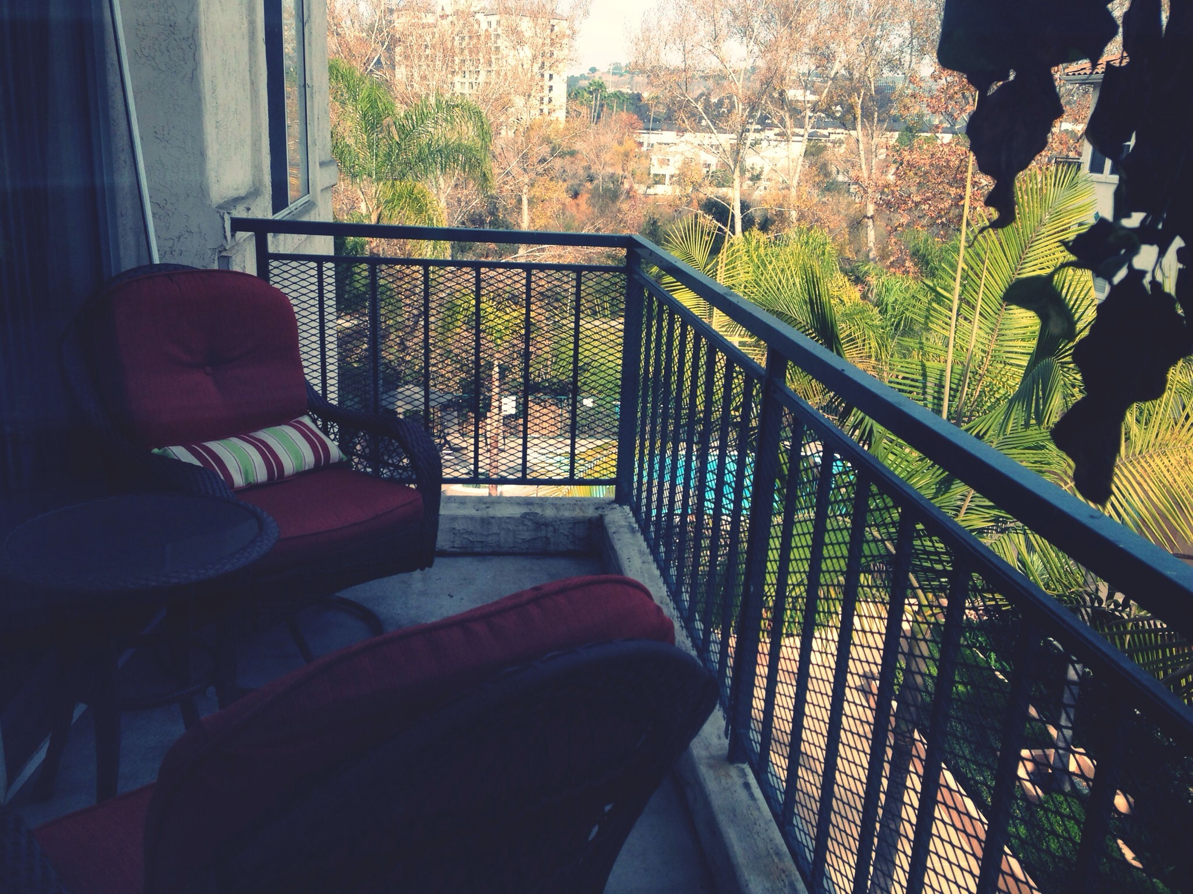 window, indoors, built structure, architecture, potted plant, railing, house, plant, balcony, glass - material, chair, sunlight, tree, day, growth, building exterior, absence, steps, no people, steps and staircases