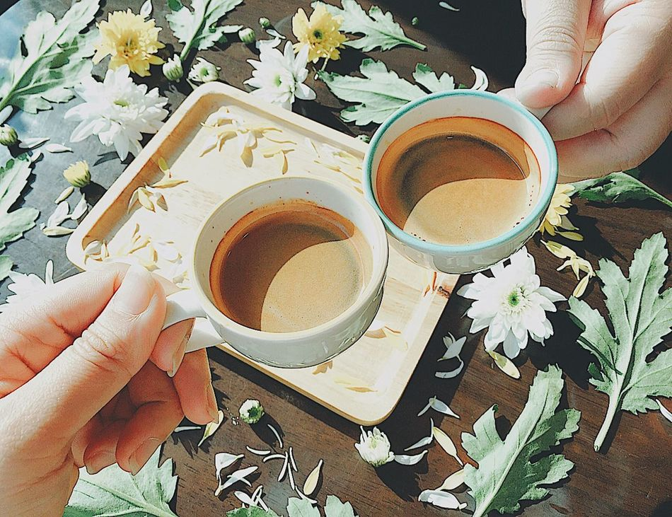 Coffee for two Human Hand Human Body Part Coffee - Drink Drink Coffee Cup Food And Drink Cup Flower Hot Drink Coffee Couple Flower Food Holding Tea Cup Table One Person High Angle View Refreshment Leisure Activity People Indoors  EyeEmNewHere