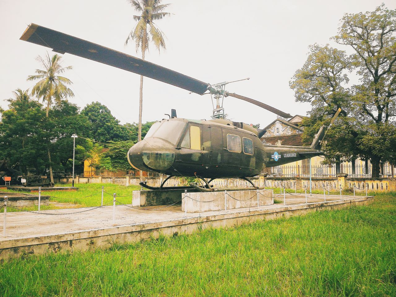 Transportation Outdoors Sky Vacations Travel EyeEm Vietnam EyeEm Best Shots Eyeemphotography Huế Vietnam Taking Photos Vietnamwar Weapons Of War Green Helicopter Helicopter Tree Built Structure Transportation UH-1 Independence Day Museum Museum Of Flight Museum Of War
