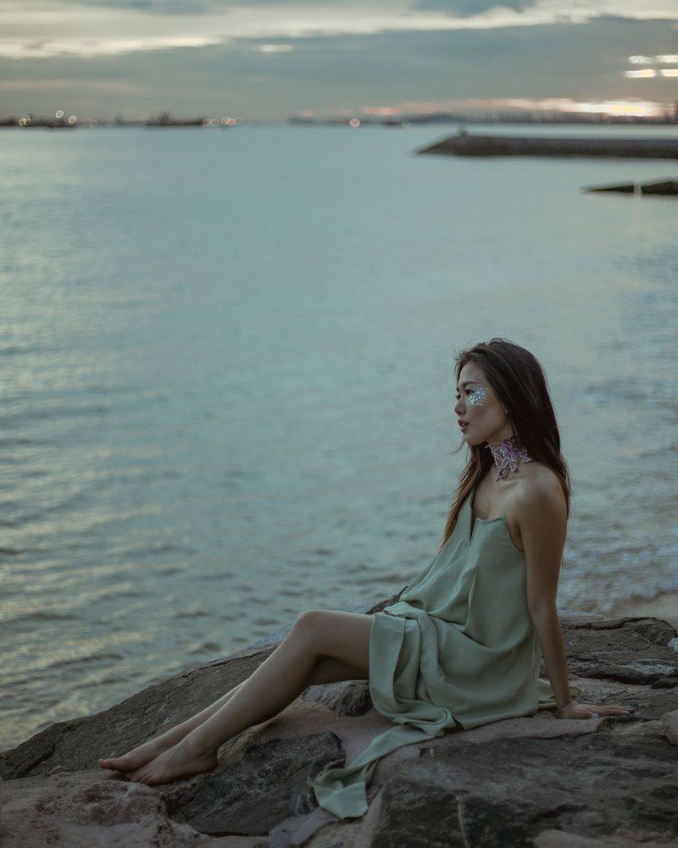 Siren song One Woman Only Sea Beauty Beach Water Beautiful People Dress Long Hair TCPM The Secret Spaces Dreamlike Women Around The World Summer Nature Horizon Over Water Individuality Outdoors Sea_collection Beach Photography Sea And Sky Beauty In Nature Moody Mermaid Siren