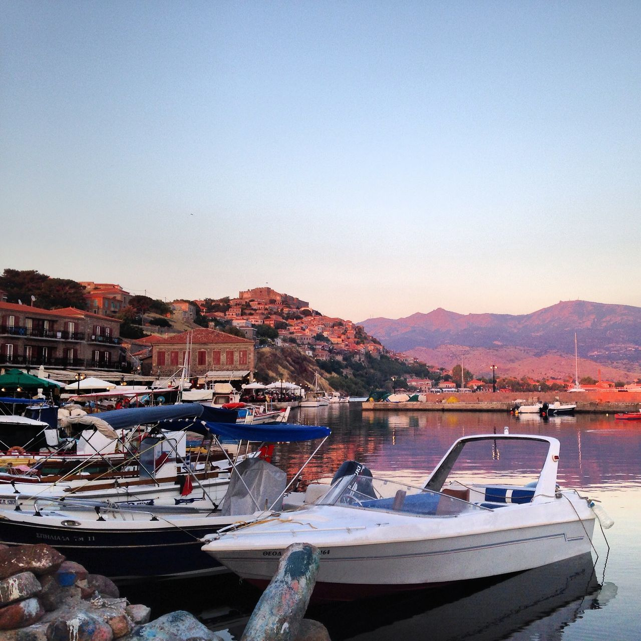 Harbour Molyvos Lesbos Greece Fishing Boat