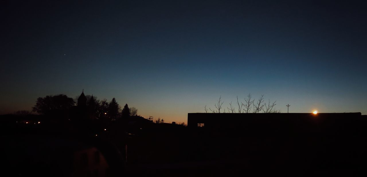 silhouette, dark, night, moon, sunset, no people, clear sky, sky, nature, tree, outdoors, beauty in nature, city
