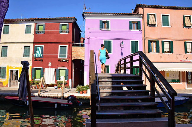 Architecture Blue Bridge Building Exterior Burano, Italy Canals And Waterways Colorful Facade Island Outdoors