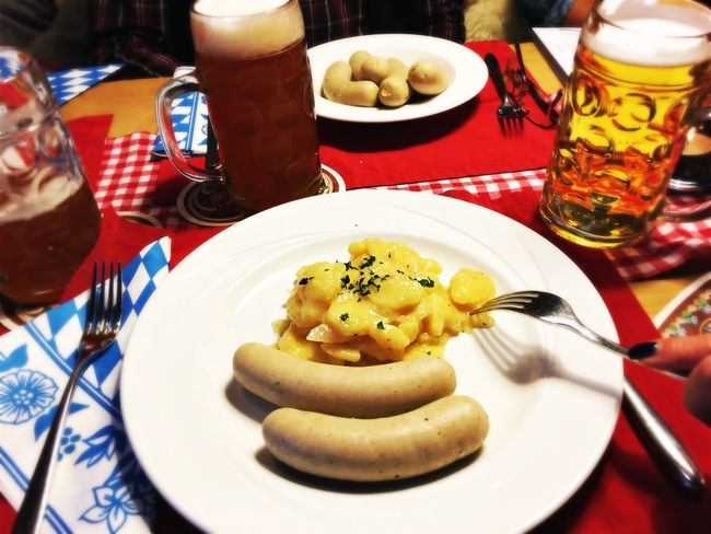 Food And Drink Food Table Plate Freshness Indoors  Still Life Ready-to-eat Bowl Meal Indulgence Serving Size Temptation Focus On Foreground Serving Dish Appetizer Dessert Lunch Kartoffelsalat Weisswurst Wurst Bayern Germany