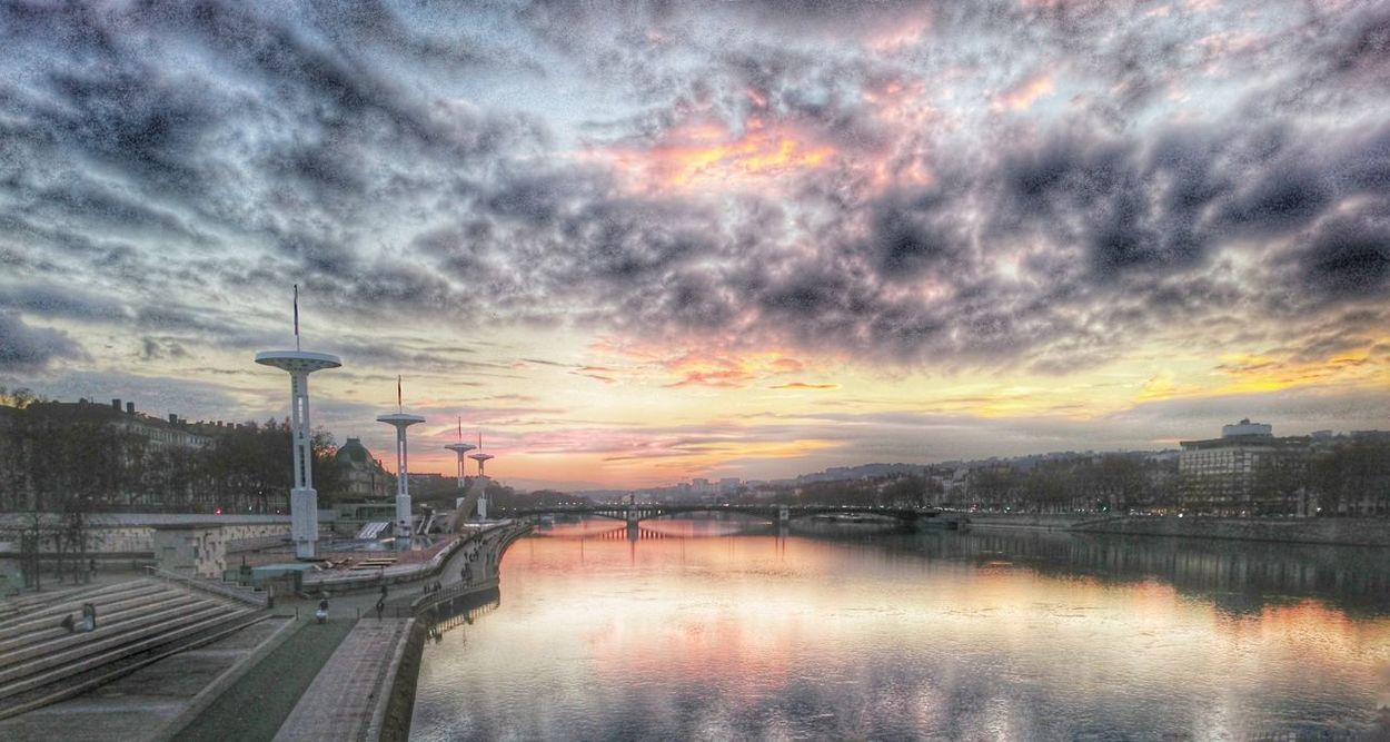 Lyon France HDR Rhône River Water Sky On Fire Clouds And Sky Bridge Over Water Orange Color Eyeemphoto Eyem Sunset_collection FocusOn Relaxing EyeMe Best Shot - Landscape Colorful Tranquil Scene