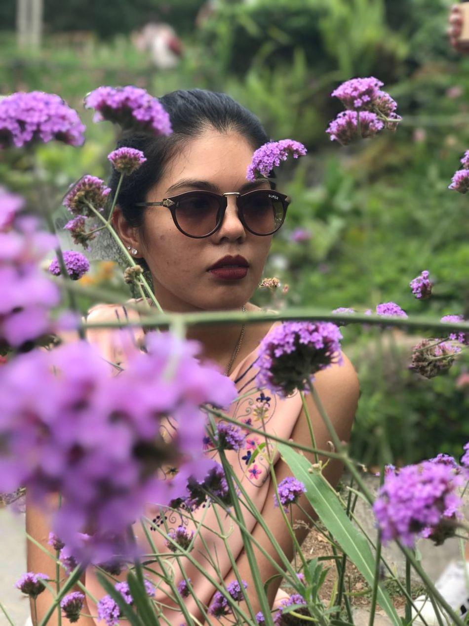 Nature One Person Summer Sunglasses Outdoors Lifestyles Flower Women Beautiful Woman Portrait Beauty In Nature Scented Pakchong Khaoyai Thailand Urban Life Thai's Girl Human Lips Purple