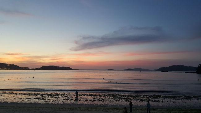 Sunset Tranquil Scene Scenics Water Calm Coastline