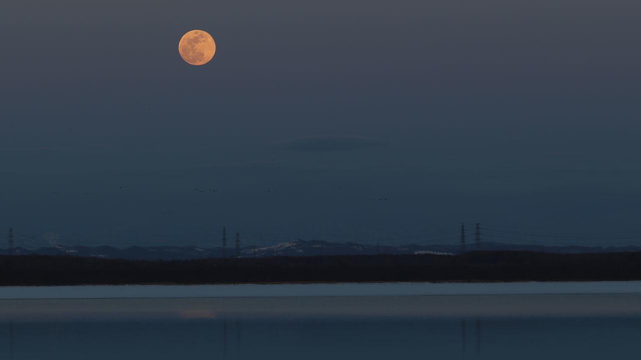 ウトナイ湖 Moonrise Full Moon Moon Sky Nature 空 Lake Utonailake 月 十五夜 満月 Tomakomai Hokkaido Japan
