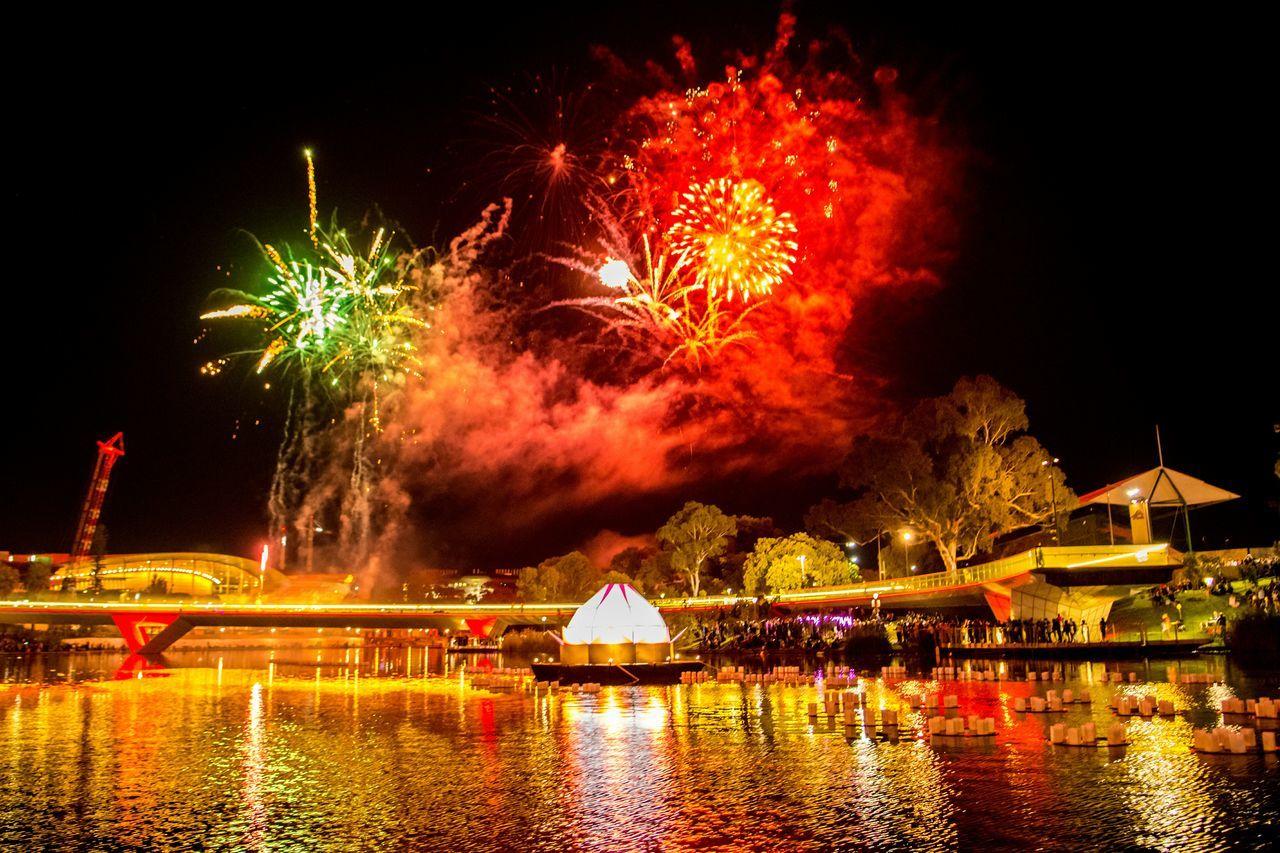 Fireworks at the Full Moon Lantern Festival! [ Festival Fireworks Events Colours Wanderlust Adelaide, South Australia Water Reflections Cityscapes Full Moon Lotus Flower]