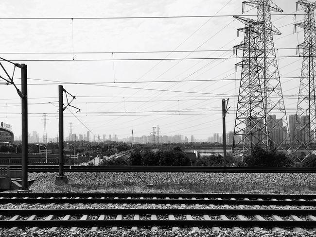 Blackandwhite Train City